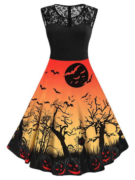 Halloween Pumpkin Bat Print Lace Insert Sleeveless Dress - PUMPKIN ORANGE S