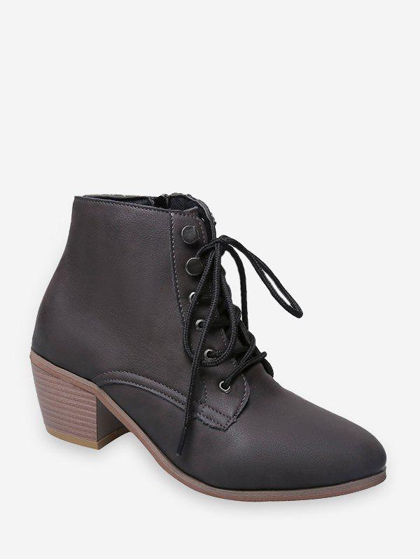 Pointed Toe Stacked Block Heel Ankle Boots - BROWN BEAR EU 35