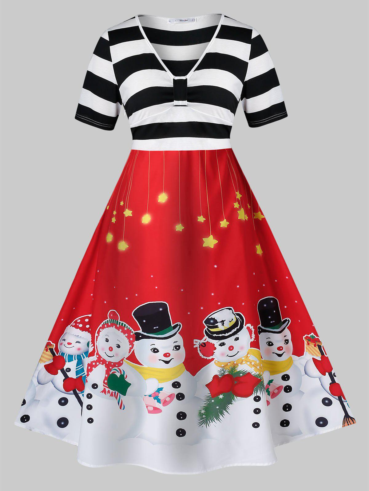Plus Size Snowman Print Christmas Fit And Flare Vintage Dress - RED 1X