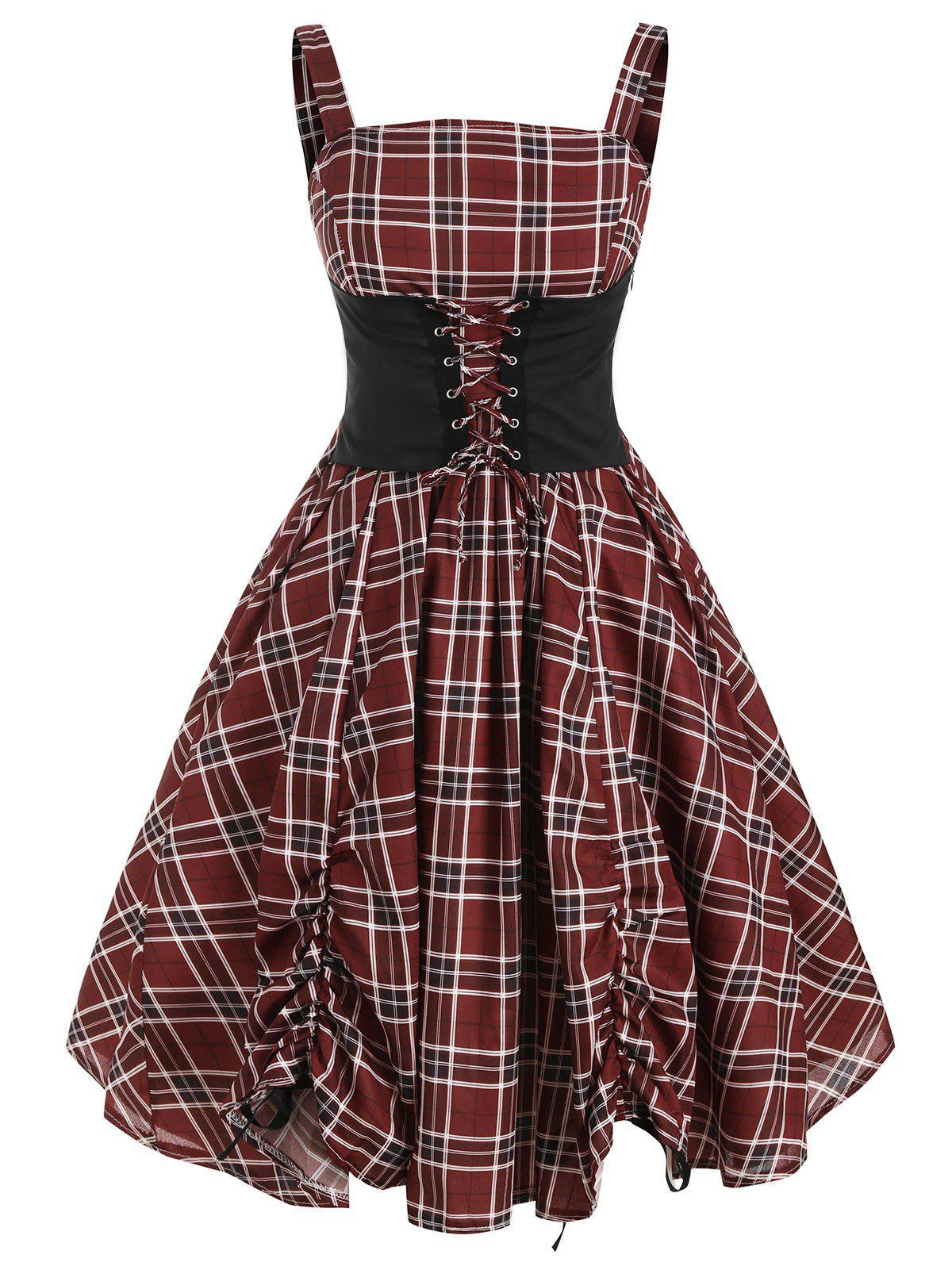 Lace Up Plaid Ruched Sleeveless Rockabilly Style A Line Dress - RED WINE M
