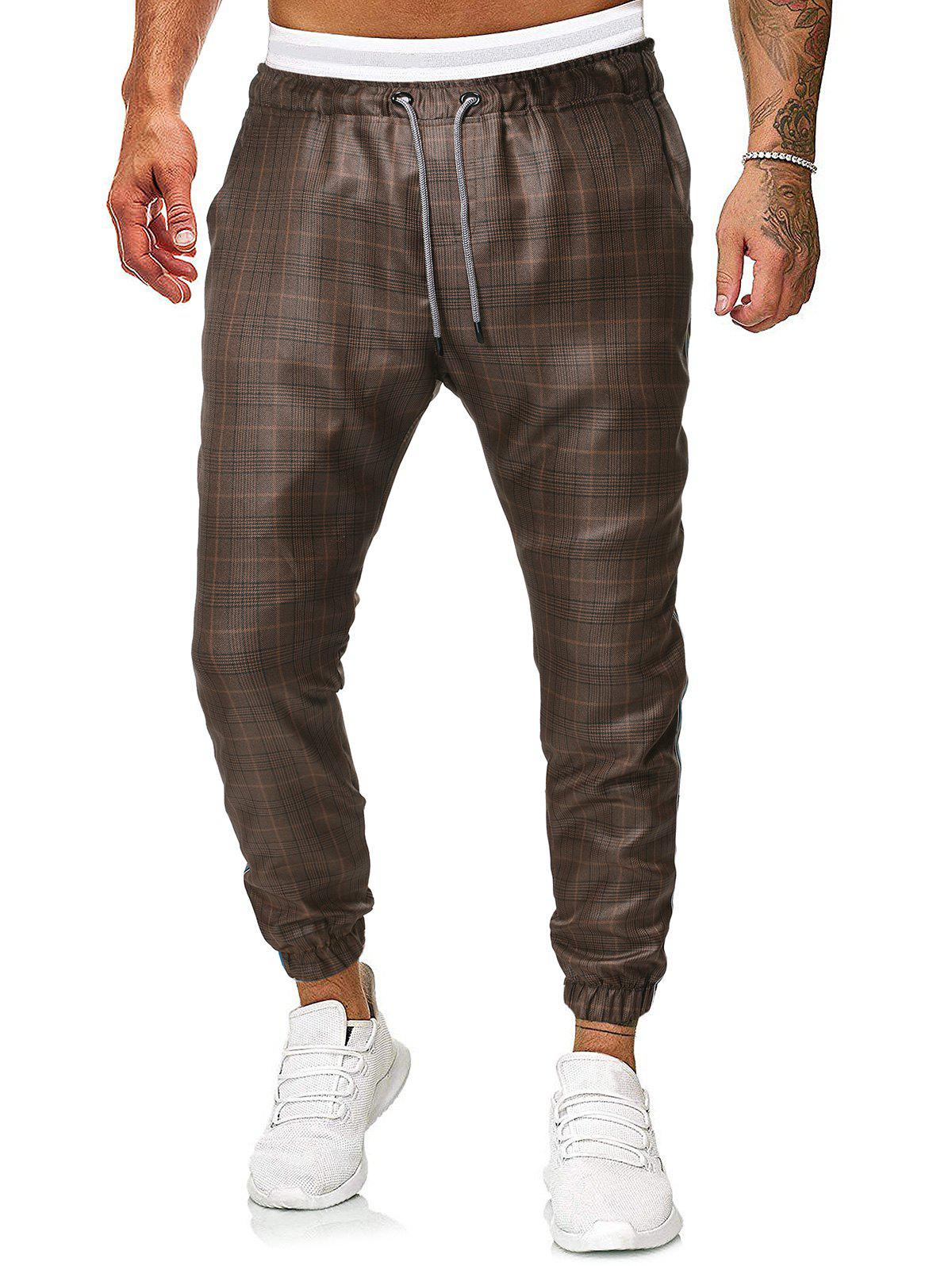 Pantalon de Jogging Motif à Carreaux à Cordon - Café 2XL