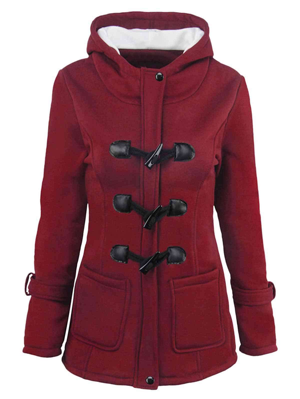 Fleece Lining Hooded Horn Button Plus Size Jacket - RED WINE 1X