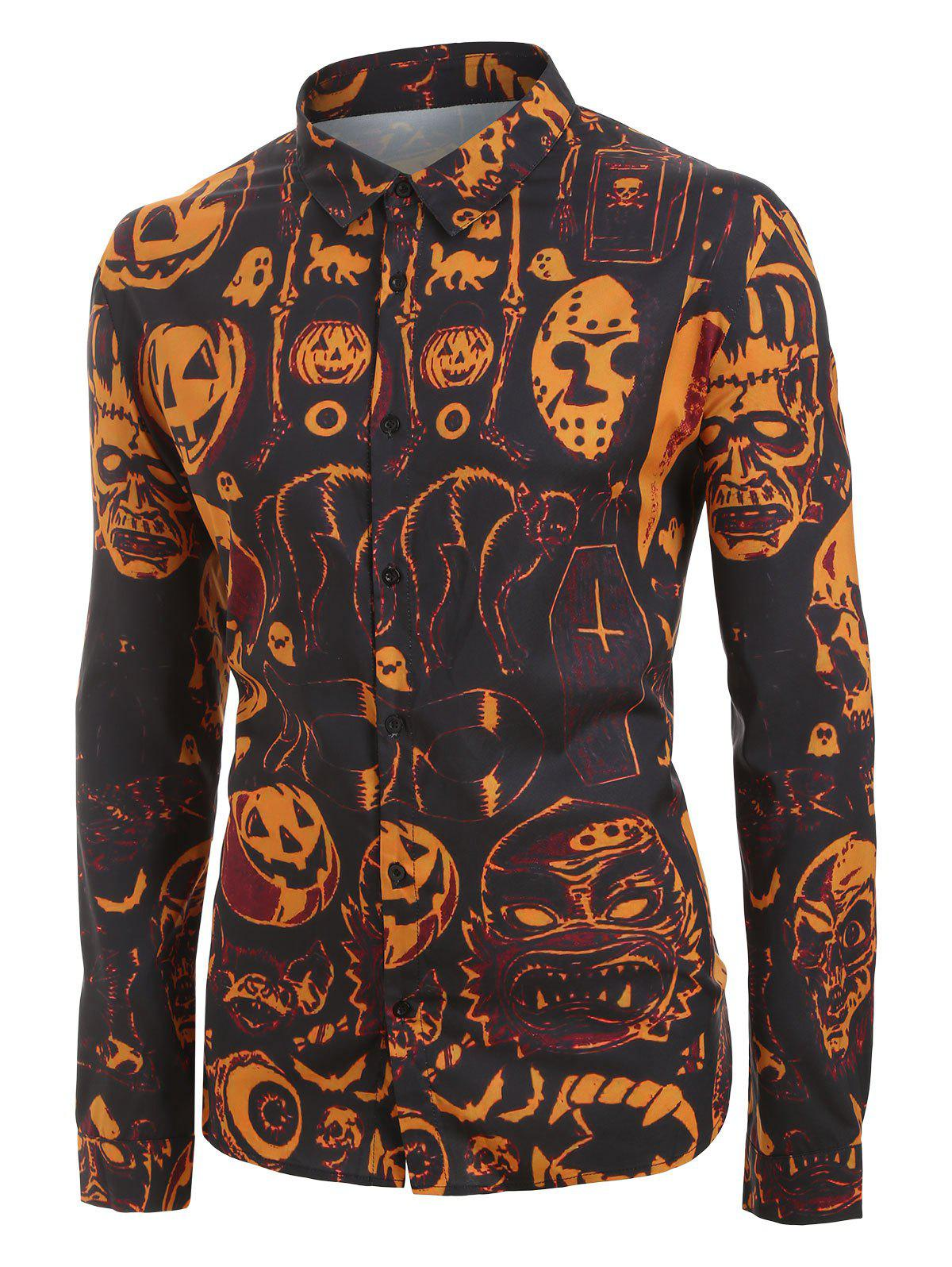 casual shoes amazon top quality Plus Size Halloween Pumpkin and Skull Print Long Sleeve Shirt