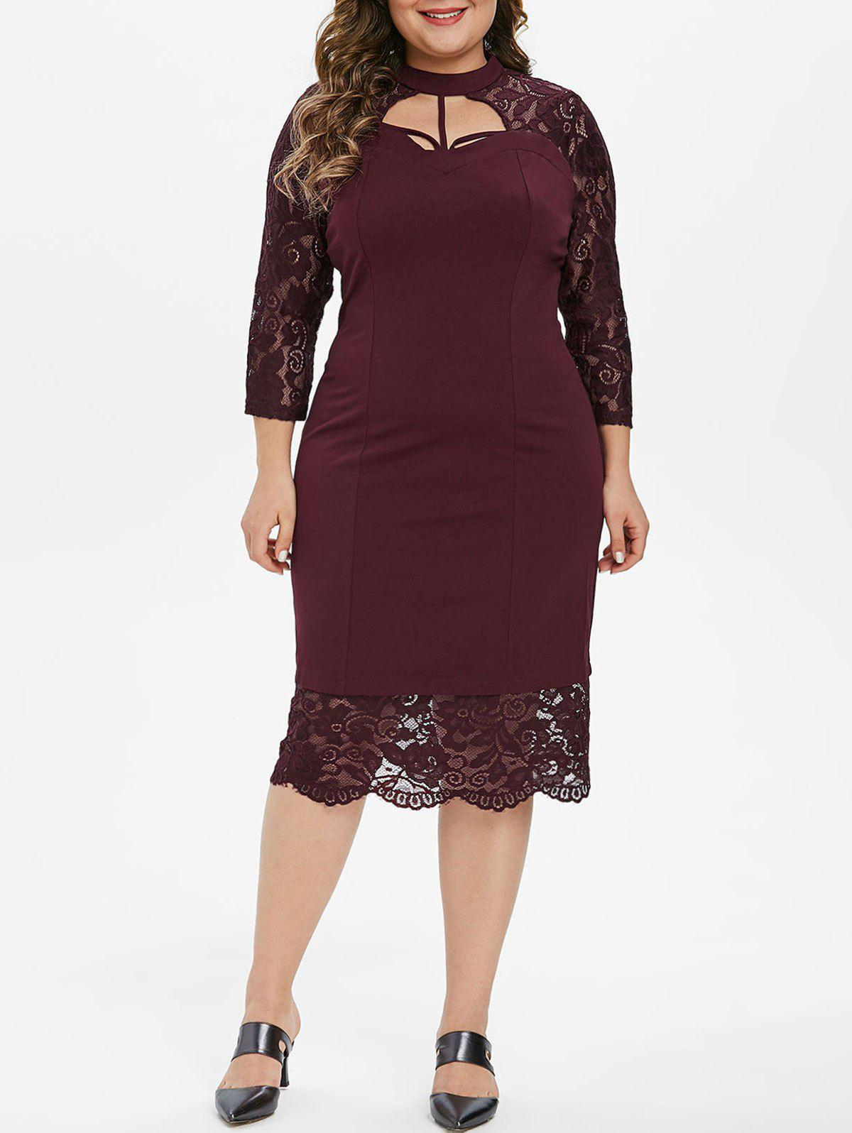 Strappy Cut Out Lace Panel Long Sleeve Plus Size Dress - RED WINE 6X