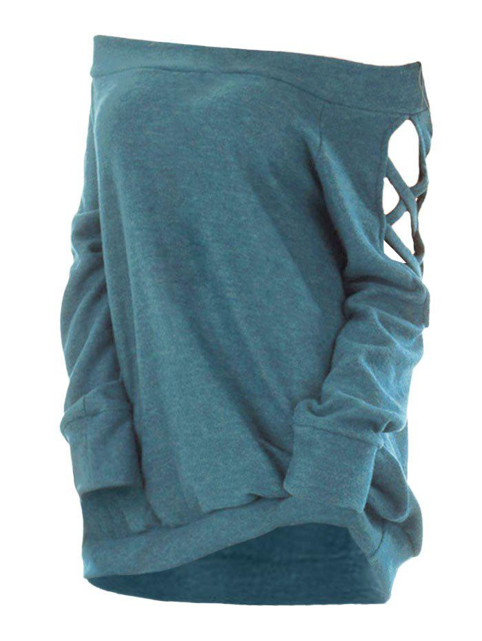 Crisscross Cutout Off The Shoulder Knitwear - GRAYISH TURQUOISE M