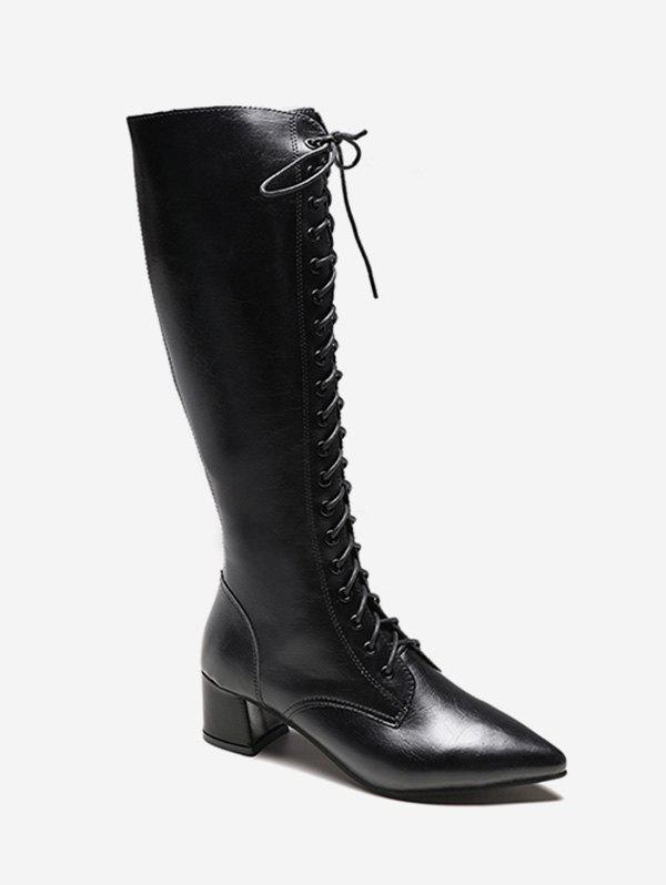 Zipper Back Knee High Pointed Toe Boots