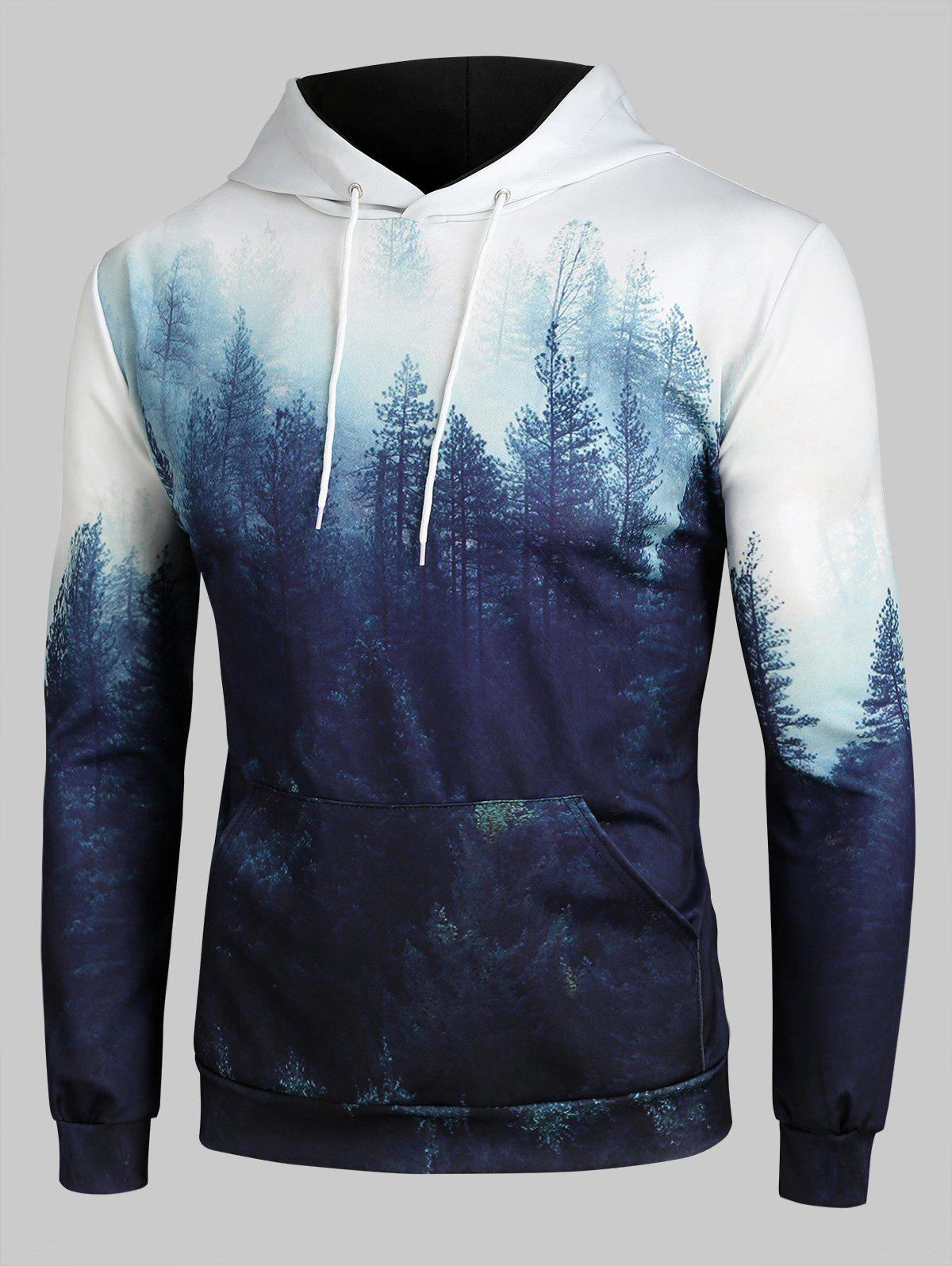 Misty Forest Front Pocket Drawstring Hoodie - multicolor 2XL
