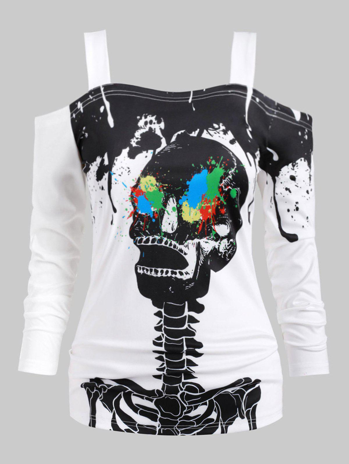 Halloween Plus Size Skeleton Print Splatter Paint T Shirt - WHITE 5X