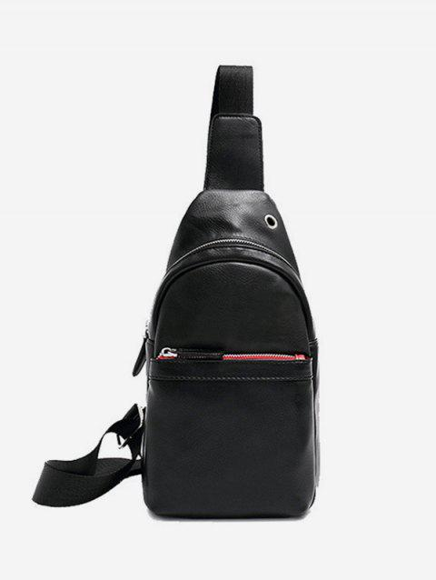 Crossbody Casual Solid Chest Bag - BLACK