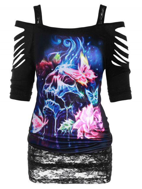 Plus Size Cold Shoulder Ripped 3D Butterfly Skull Print Halloween T Shirt - BLACK 2X