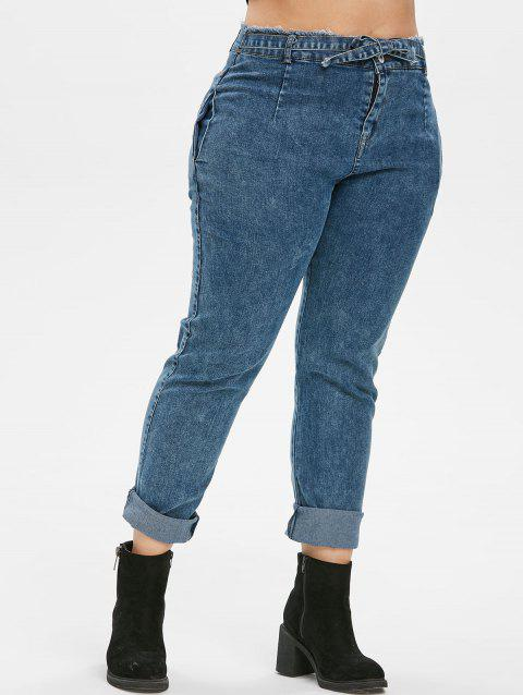 Knotted Frayed High Waisted Skinny Plus Size Jeans - DENIM BLUE 4X