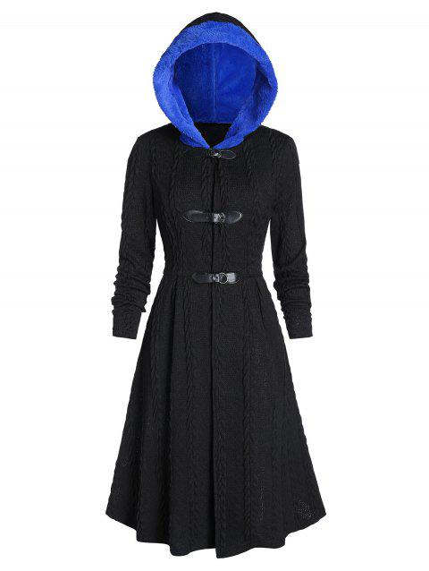 Hooded Faux Fur Buckle Cable Knit Long Coat
