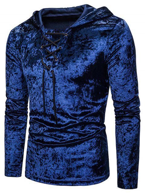 Lace Up Solid Velour Hooded T-shirt - CADETBLUE L