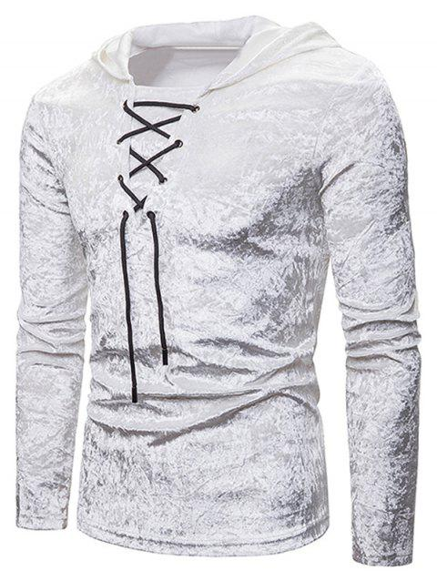 Lace Up Solid Velour Hooded T-shirt - WHITE M