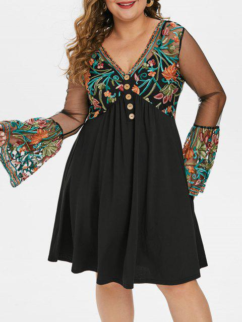 Plus Size Bell Sleeve Embroidered Empire Waist Dress - BLACK L