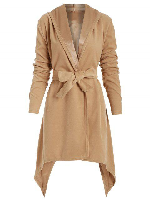Solid Color Belted Asymmetric Hooded Coat - CAMEL BROWN XL