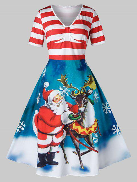 Plus Size Striped Santa Claus Elk Print Christmas Dress