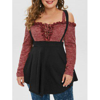 Plus Size Cold Shoulder Ruffle Lace Up Two Tone Top