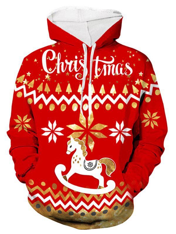 Christmas Wooden Horse Print Hoodie - RED XL