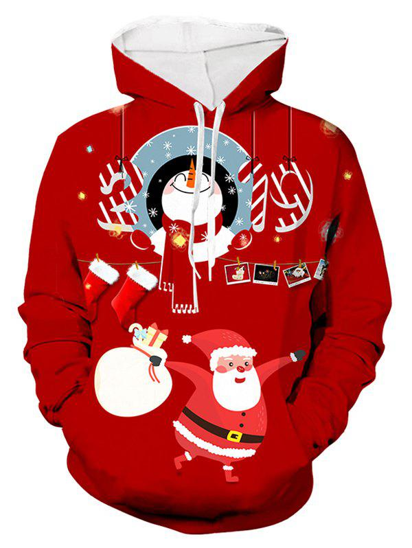 Santa Claus Christmas Printed Hoodie - RED 2XL