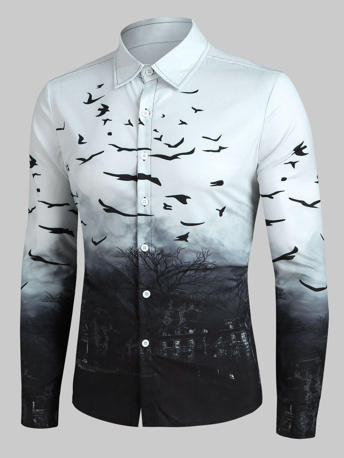 Halloween Castle and Crows Print Button Up Curved Hem Shirt - WHITE 2XL