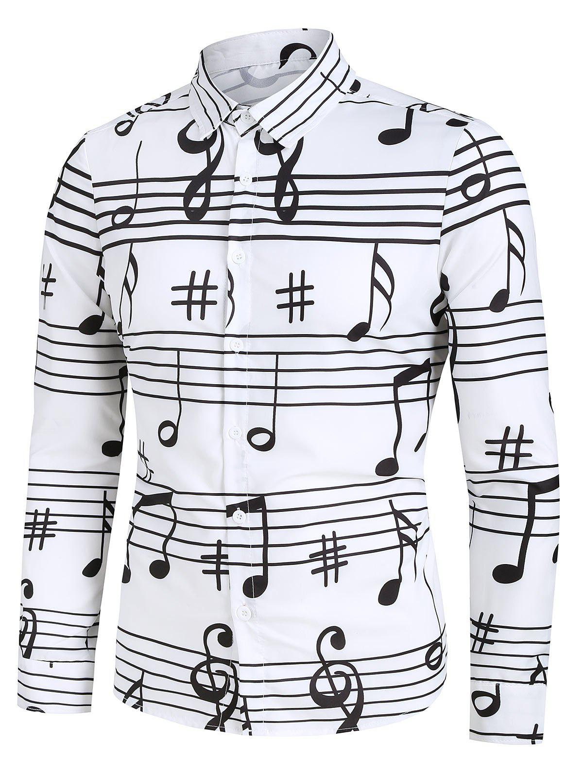 Music Notes Print Long Sleeve Button Up Festival Shirt - WHITE 3XL