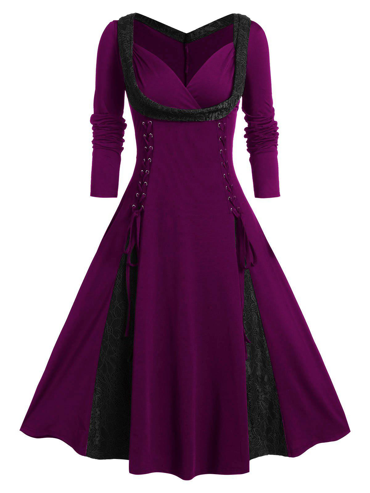 Plus Size Lace Up Fit And Flare Long Sleeve Vintage Dress - PURPLE IRIS 4X