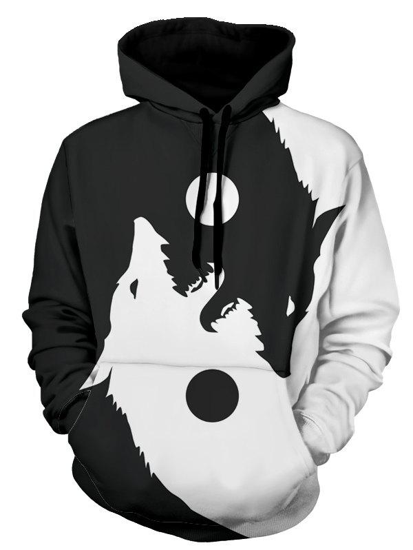 Wolf Print Kangaroo Pocket Casual Hoodie - WHITE 2XL