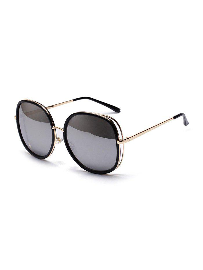 Metal Oversized Square Sunglasses - MILK WHITE