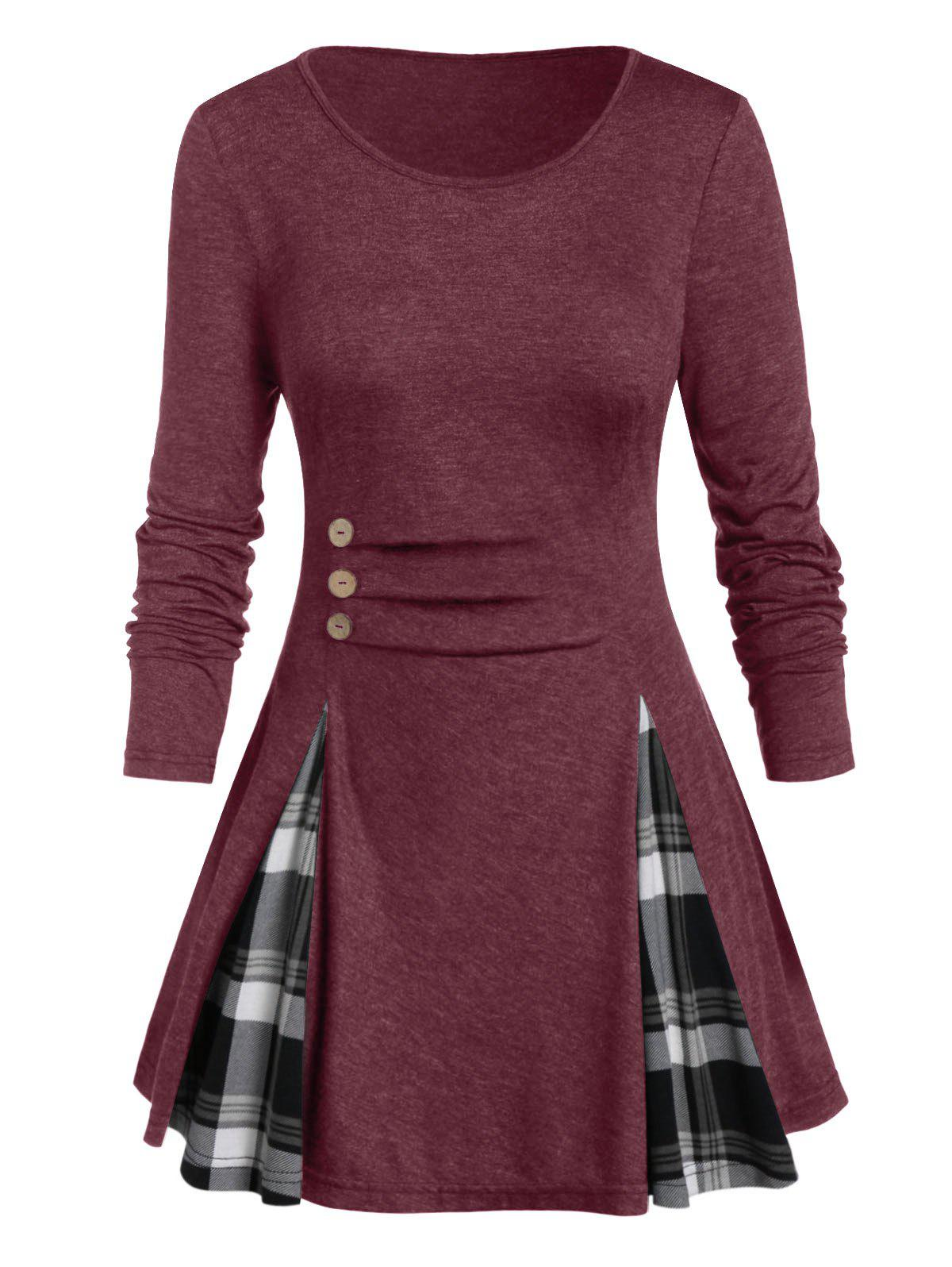 Plus Size Buttoned Plaid Long Sleeve Tunic Tee - RED WINE 5X
