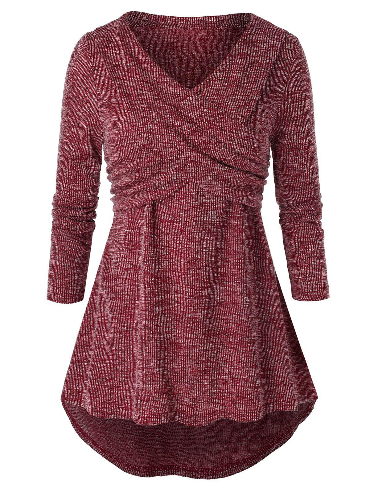 Plus Size High Low V Neck Space Dye Sweater - CHERRY RED 5X