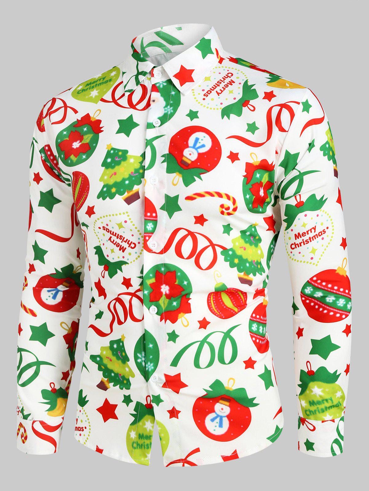 Christmas Pattern Ball Star Candy Long Sleeve Button Shirt - multicolor 2XL