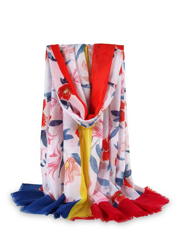 Flower Printed Color-blocking Fringe Beach Scarf - RED
