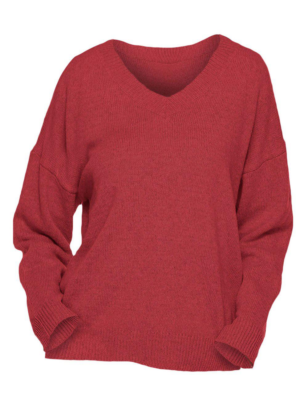 Plus Size Drop Shoulders V Neck Sweater - RED 1X