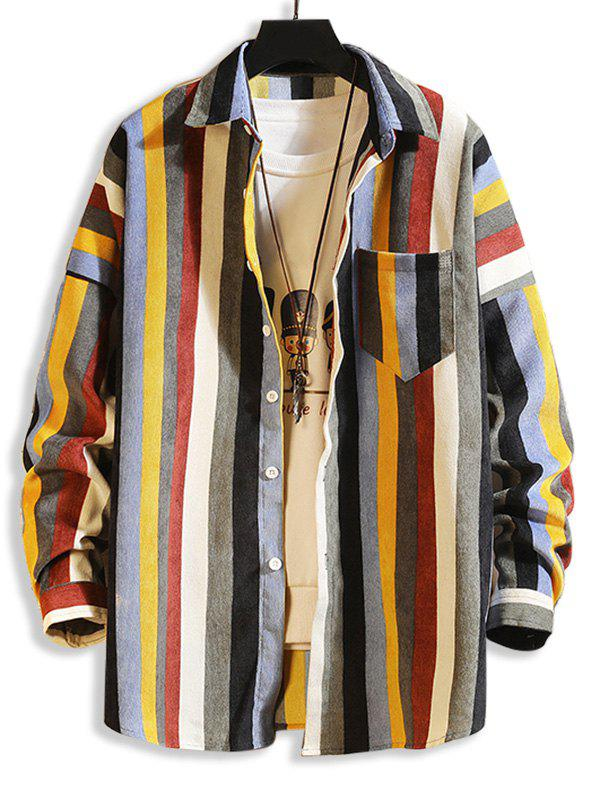 Colorful Striped Pockets Button Up Corduroy Shirt - multicolor B M