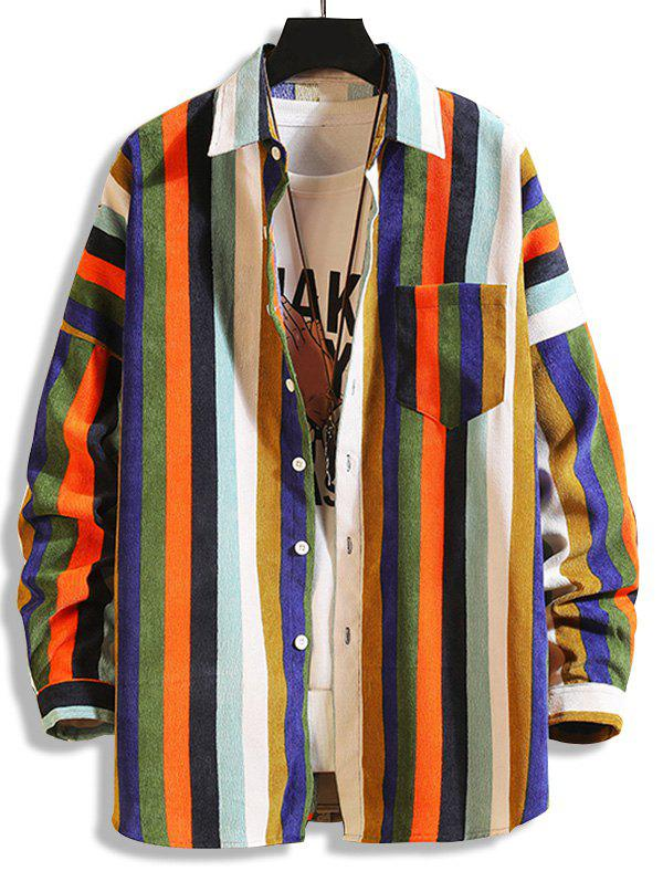 Colorful Striped Pockets Button Up Corduroy Shirt - multicolor A 4XL