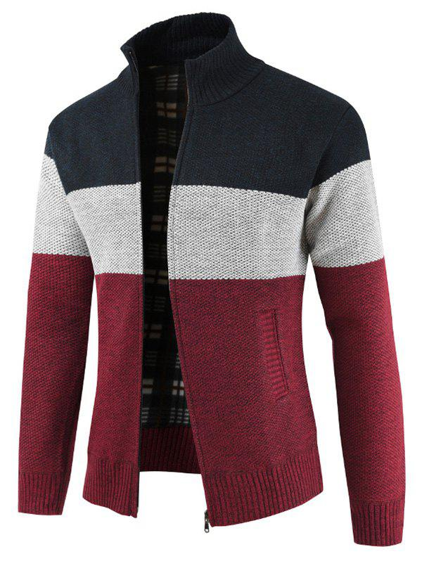 Cardigan Zippé en Couleur Jointive - Cadetblue S