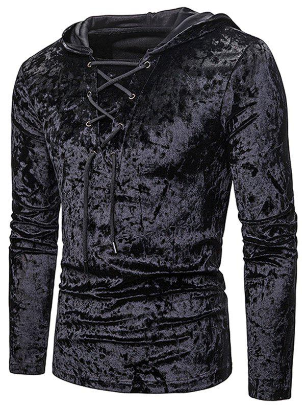 Sweat à Capuche en Couleur Unie à Lacets en Velours - Noir XL