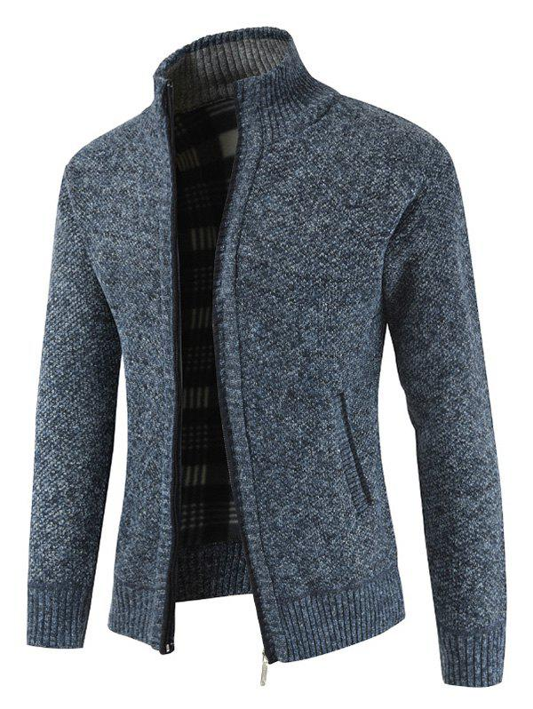 Solid Color Zip Up Full Sleeves Cardigan - SLATE BLUE S