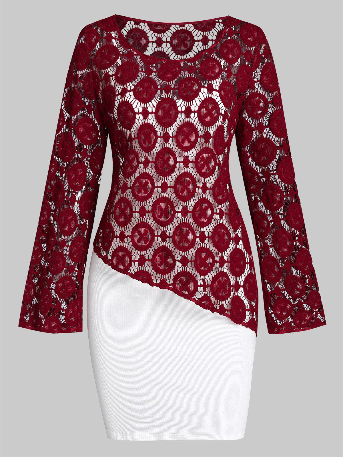 Cami Bodycon Dress with Asymmetrical Long Sleeve Top - RED WINE M