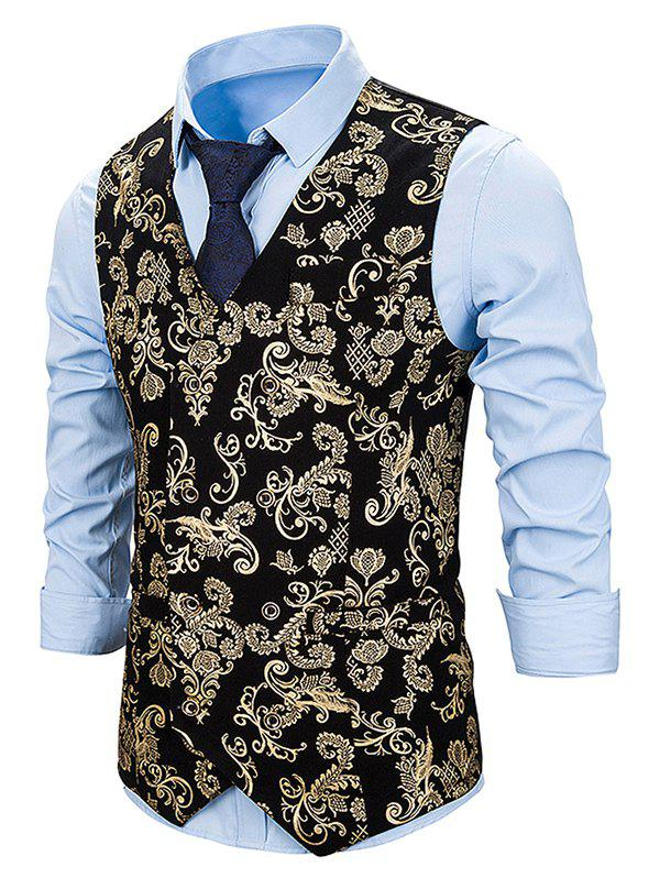 Gilding Flower Pattern Double Breasted Business Vest - GOLD 2XL