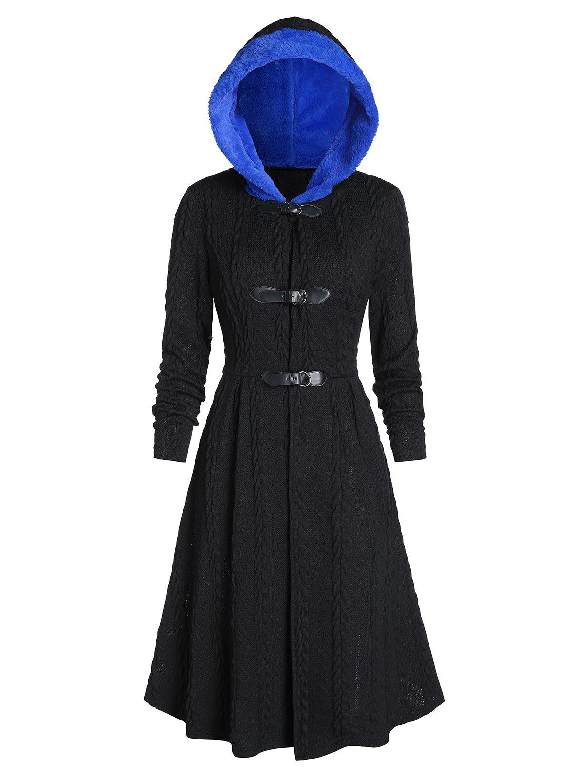 Hooded Faux Fur Buckle Cable Knit Long Coat - BLACK M