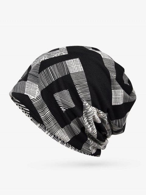 Checkered Striped Print ElasticDouble Use Scarf Hat - BLACK