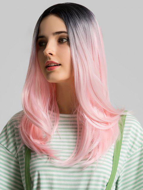 Ombre Long Center Part Straight Synthetic Cosplay Wig - multicolor
