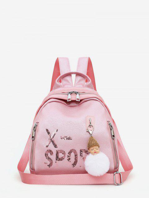 Dull Pendant Small Leather Travel Casual Backpack - PINK
