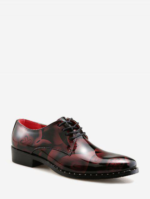Floral Print Pointed Toe Lace Up Business Shoes - RED EU 41
