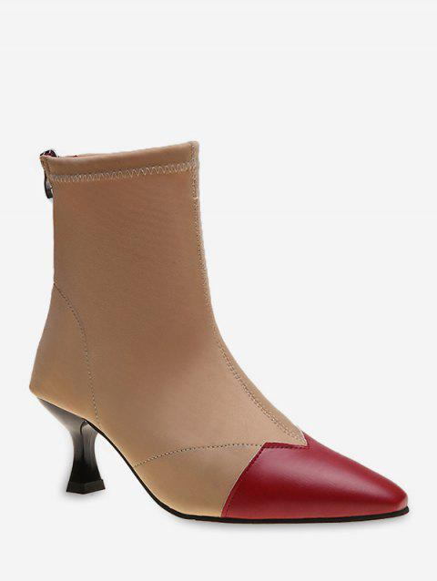 Contrast Pointed Toe Stiletto Heel Boots - RED WINE EU 41