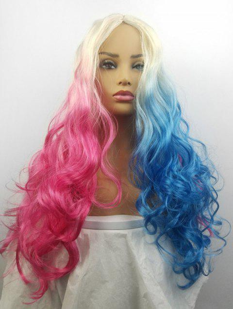 Double Color Cosplay Center Part Synthetic Ombre Long Body Wave Cosplay Wig - multicolor A