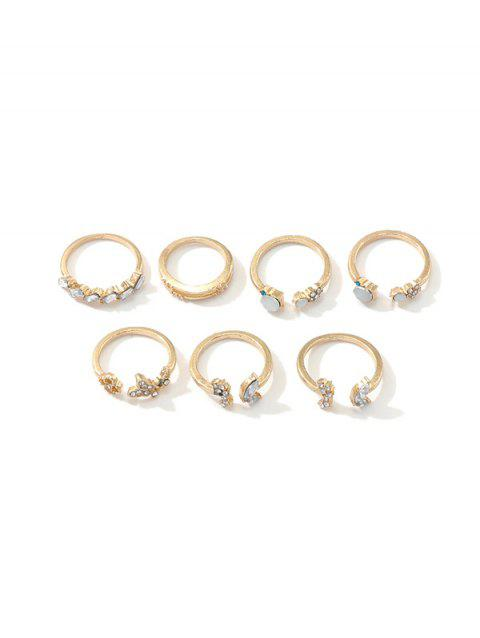 7Pcs Butterfly Flower Rhinestone Rings Set - GOLD