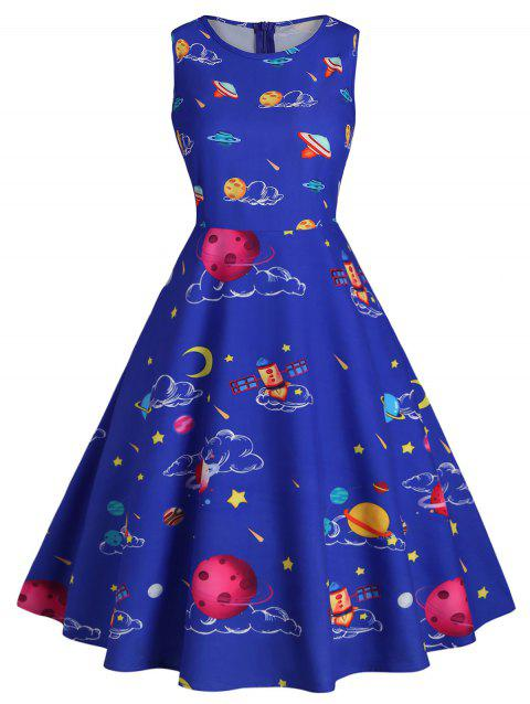 Plus Size Vintage Planet Space Tapestry Flare Dress - BLUE L